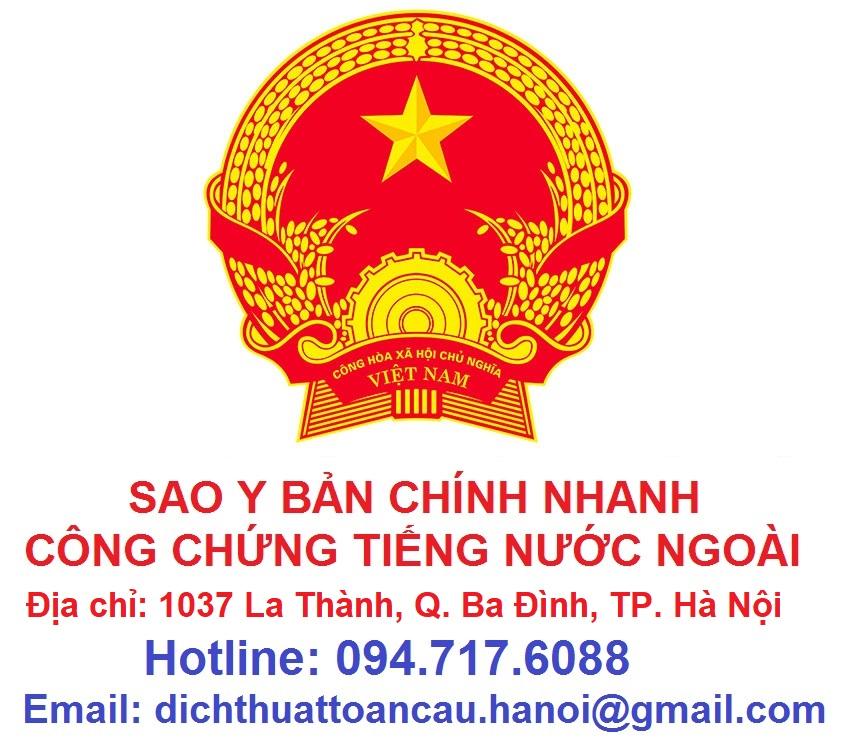 sao y bản chính công chứng tài liệu chứng thực bản sao giấy tờ lấy nhanh tại Hà Nội