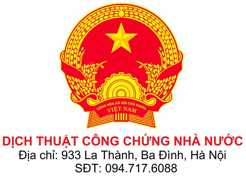 dịch thuật Việt Anh công chứng nhà nước tại Hà Nội